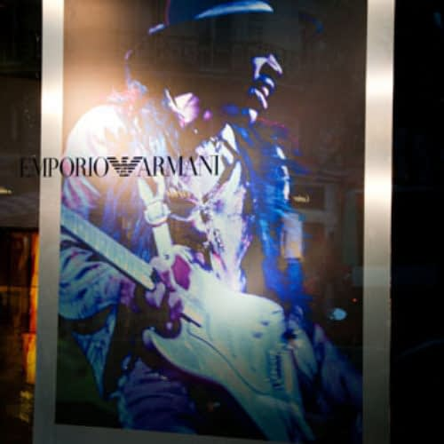 Opening of Elliott Landy's exhibition at Emporio Armani, Paris, 18/10/2011.